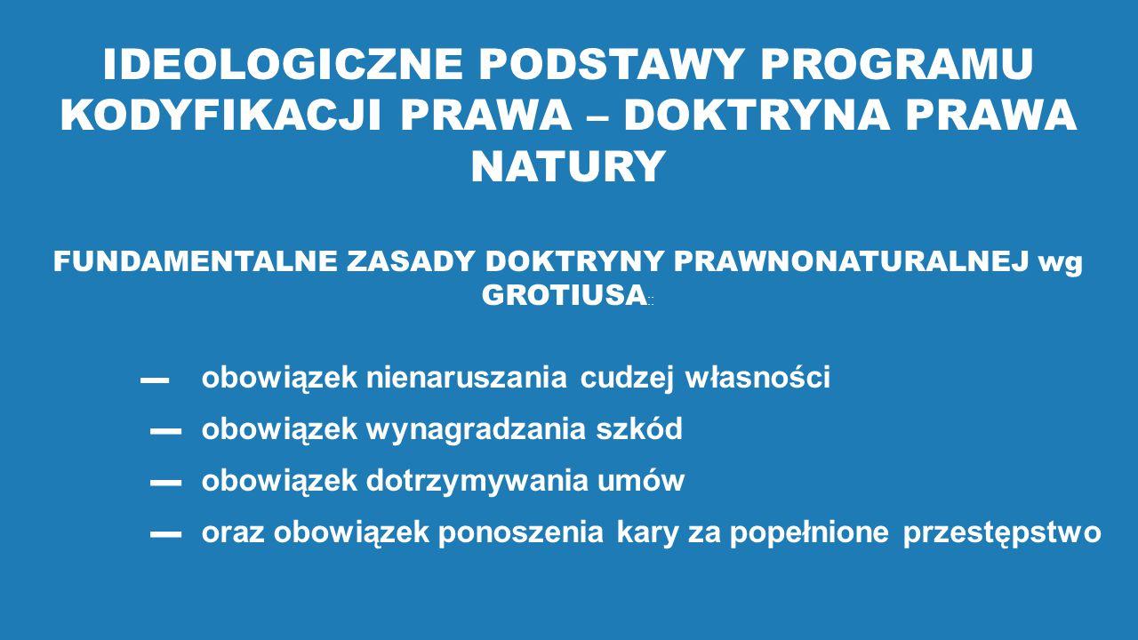 FUNDAMENTALNE ZASADY DOKTRYNY PRAWNONATURALNEJ wg GROTIUSA::