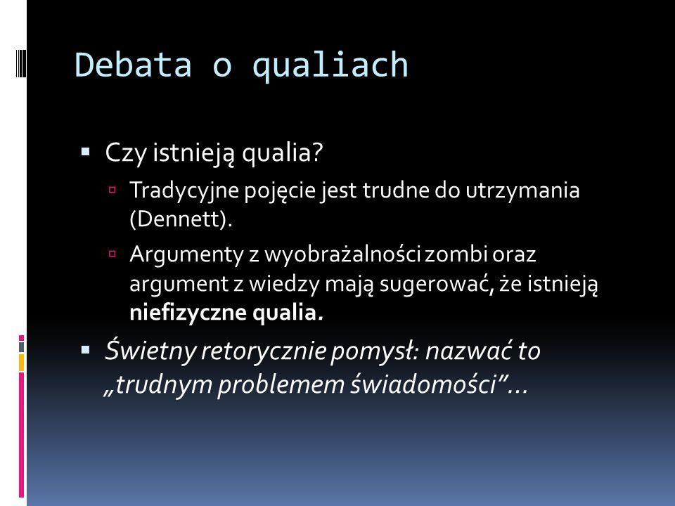 Debata o qualiach Czy istnieją qualia