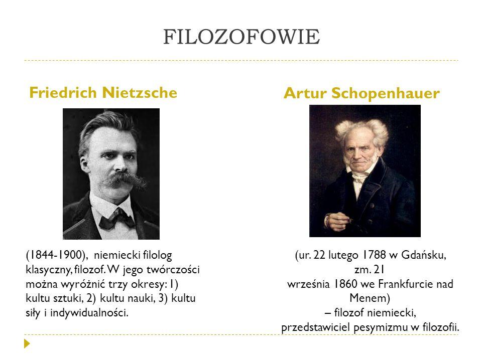 FILOZOFOWIE Friedrich Nietzsche Artur Schopenhauer