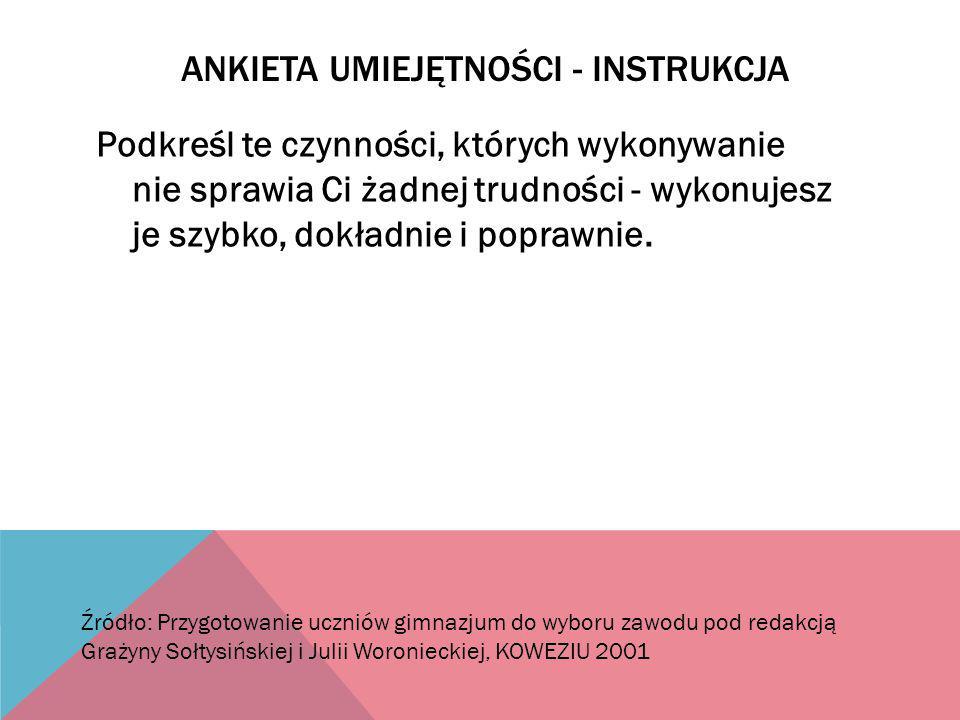 Ankieta umiejętności - instrukcja
