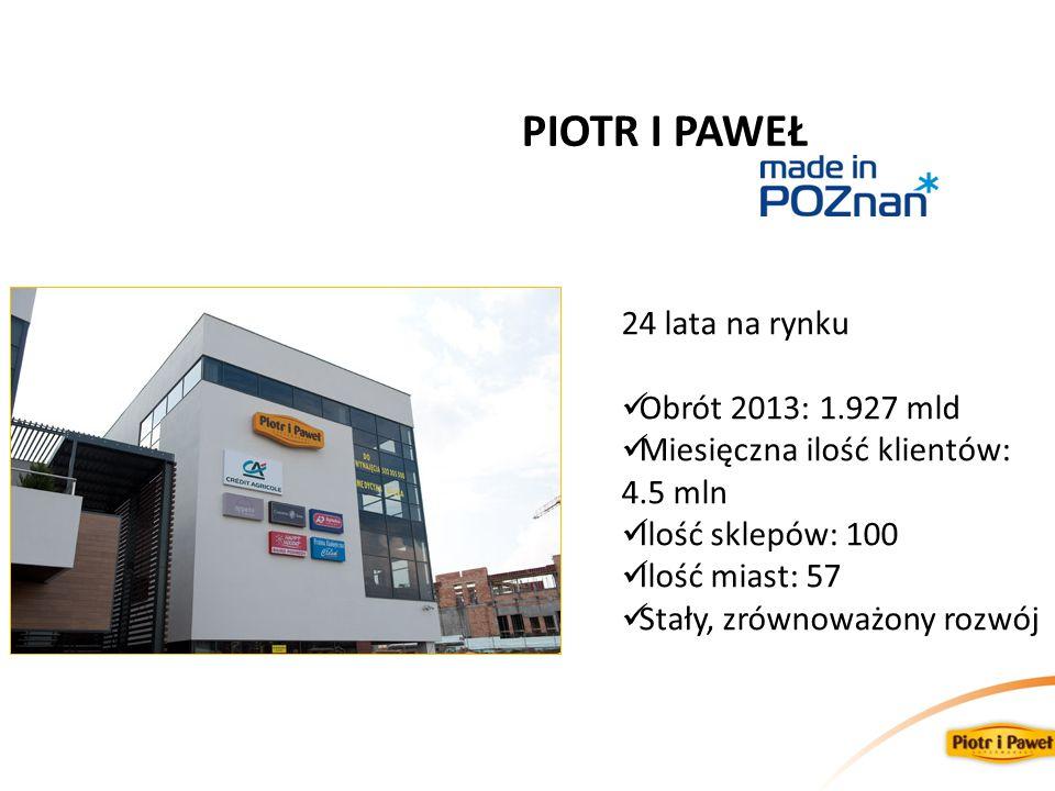 PIOTR I PAWEŁ 24 lata na rynku Obrót 2013: 1.927 mld