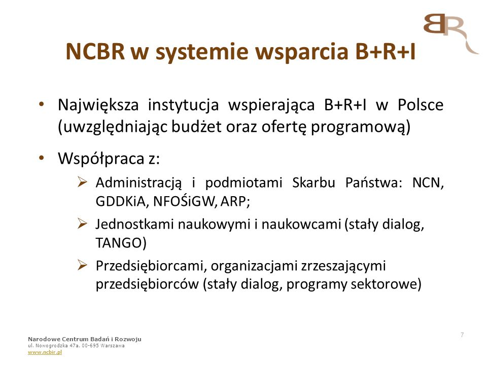 NCBR w systemie wsparcia B+R+I