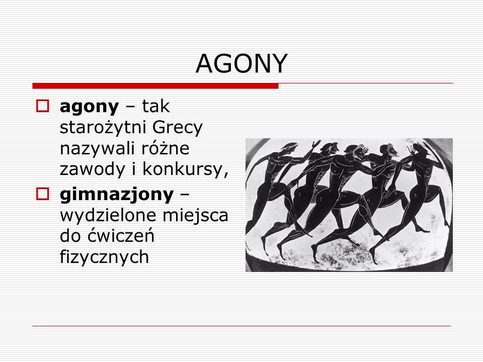AGONY agony – tak starożytni Grecy nazywali różne zawody i konkursy,