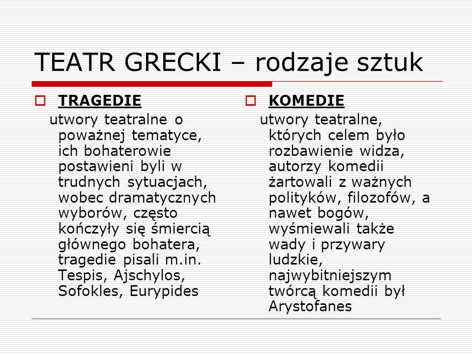 TEATR GRECKI – rodzaje sztuk