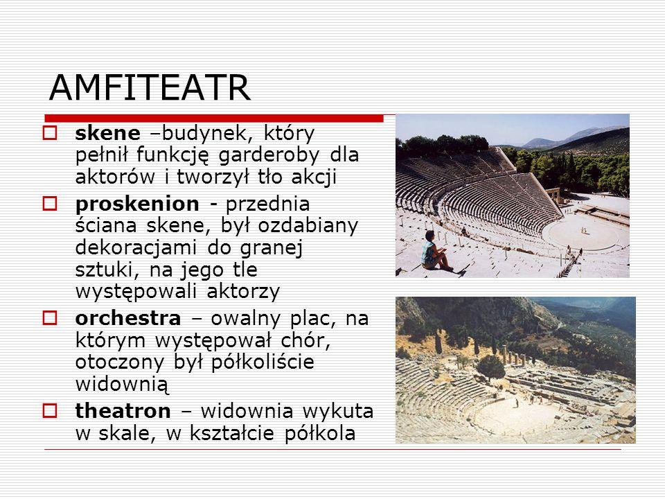 AMFITEATR skene –budynek, który pełnił funkcję garderoby dla aktorów i tworzył tło akcji.