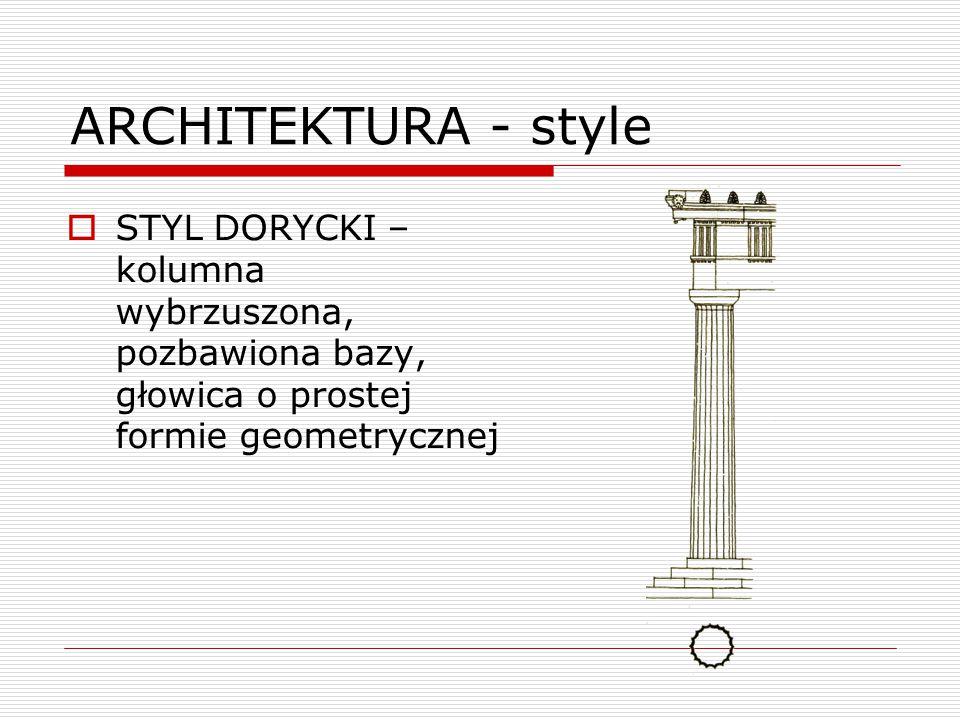 ARCHITEKTURA - style STYL DORYCKI –kolumna wybrzuszona, pozbawiona bazy, głowica o prostej formie geometrycznej.