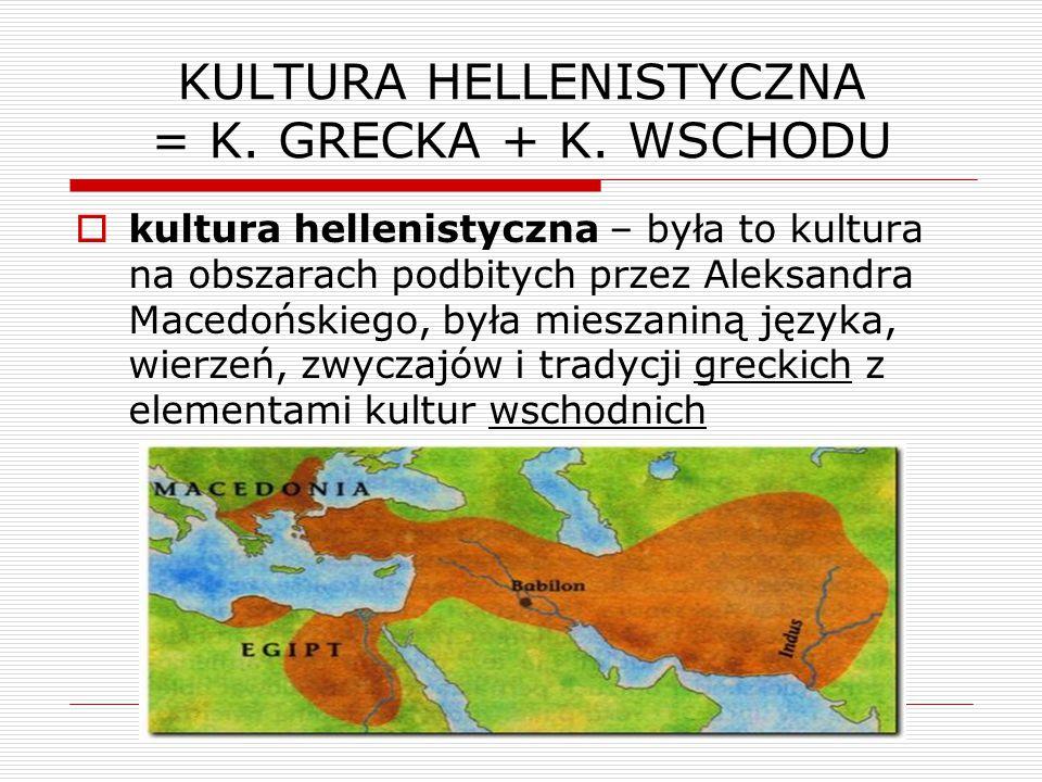 KULTURA HELLENISTYCZNA = K. GRECKA + K. WSCHODU
