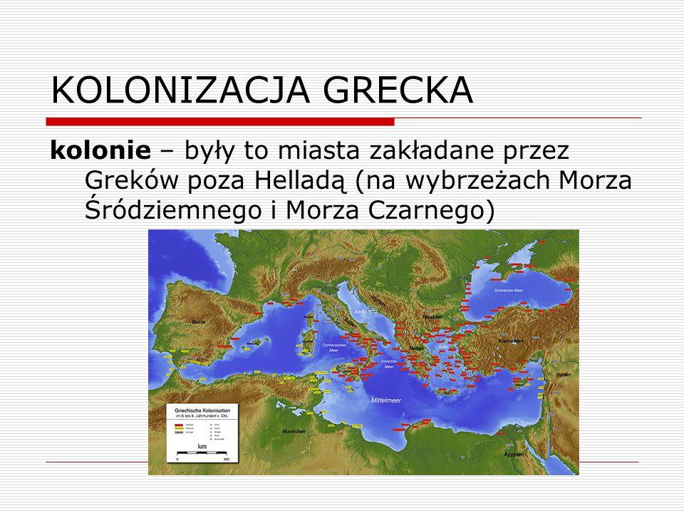KOLONIZACJA GRECKA kolonie – były to miasta zakładane przez Greków poza Helladą (na wybrzeżach Morza Śródziemnego i Morza Czarnego)