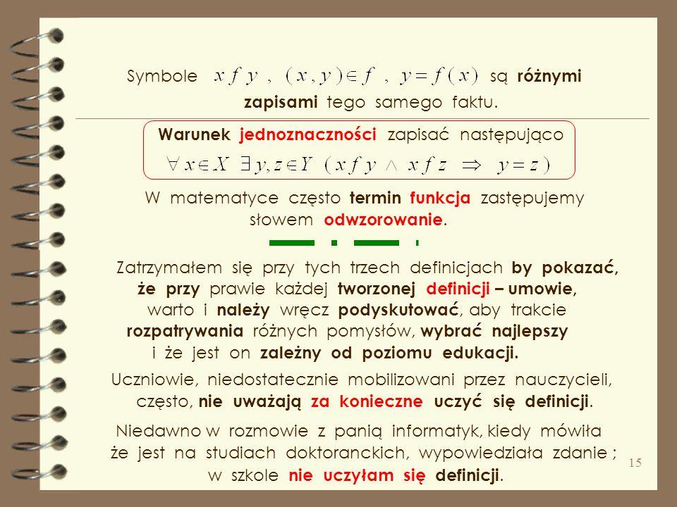 Symbole są różnymi. zapisami tego samego faktu. Warunek jednoznaczności zapisać następująco.
