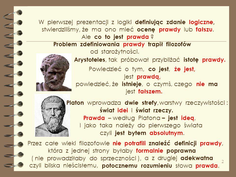 W pierwszej prezentacji z logiki definiując zdanie logiczne,