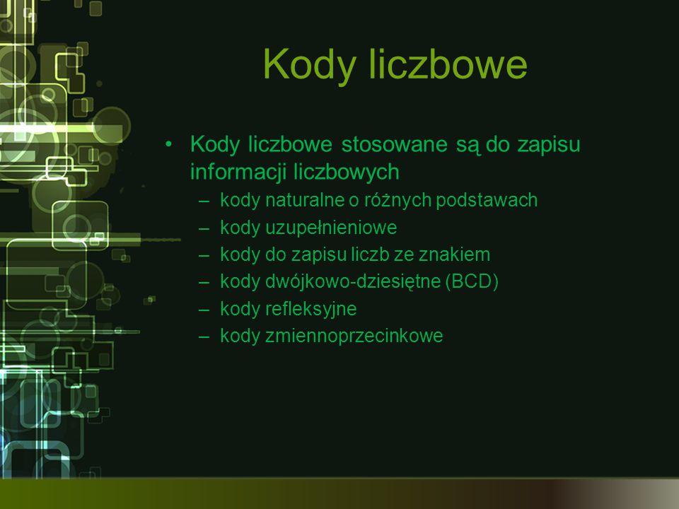 Kody liczbowe Kody liczbowe stosowane są do zapisu informacji liczbowych. kody naturalne o różnych podstawach.