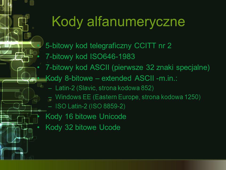 Kody alfanumeryczne 5-bitowy kod telegraficzny CCITT nr 2