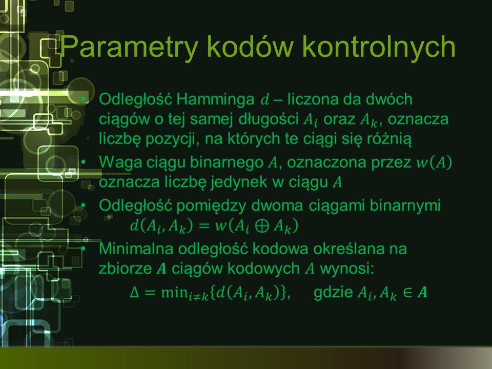 Parametry kodów kontrolnych