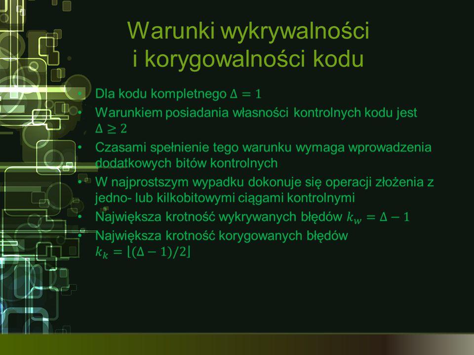 Warunki wykrywalności i korygowalności kodu