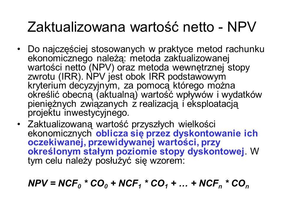 Zaktualizowana wartość netto - NPV