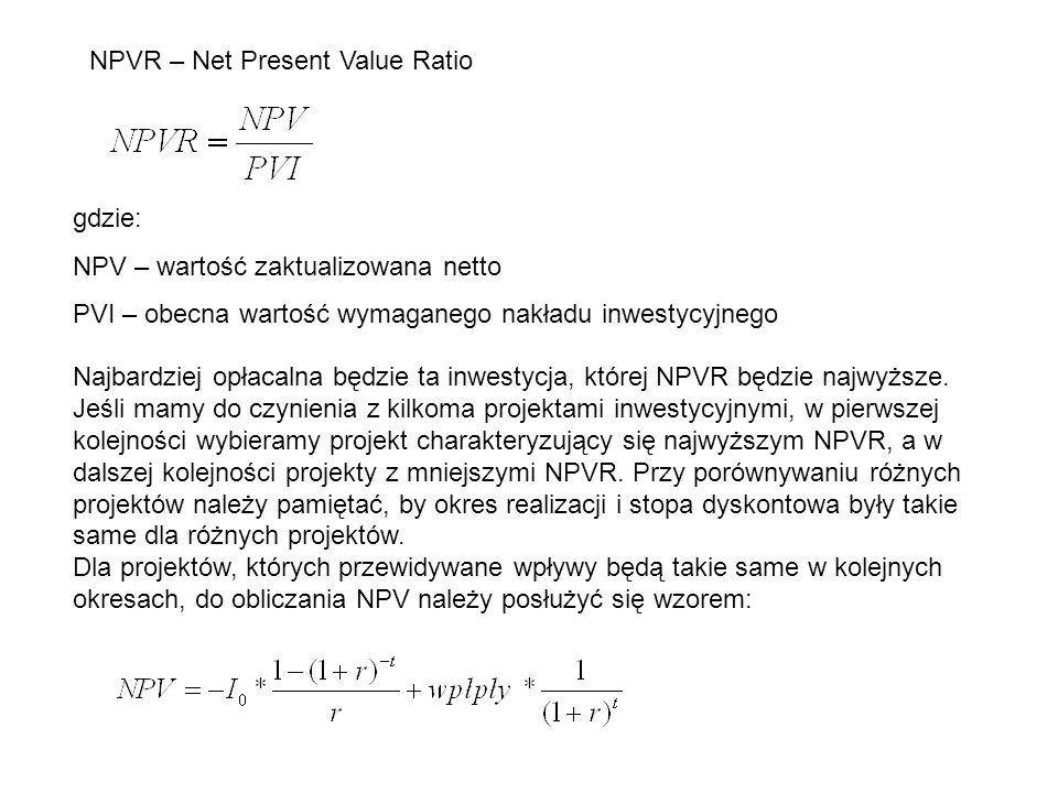 NPVR – Net Present Value Ratio