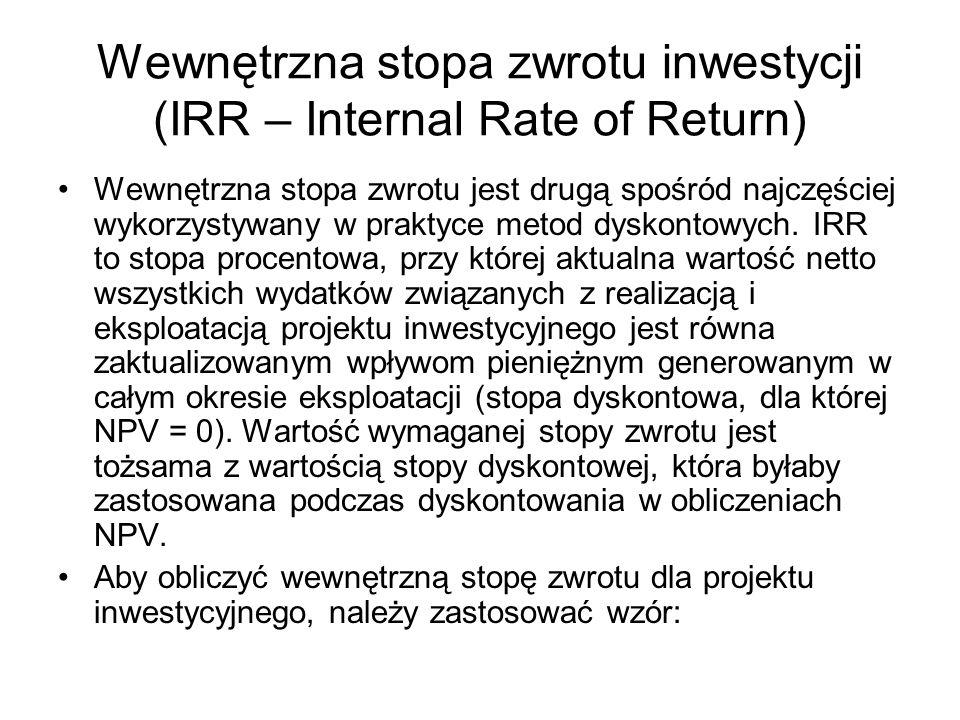Wewnętrzna stopa zwrotu inwestycji (IRR – Internal Rate of Return)