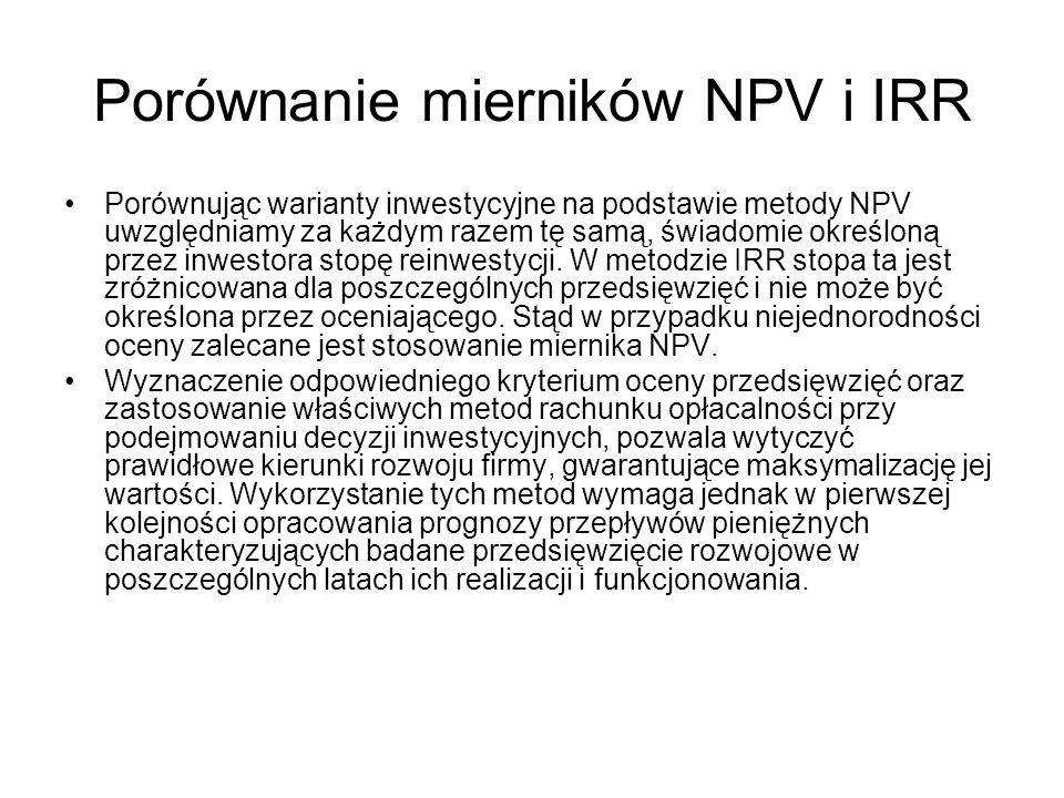 Porównanie mierników NPV i IRR