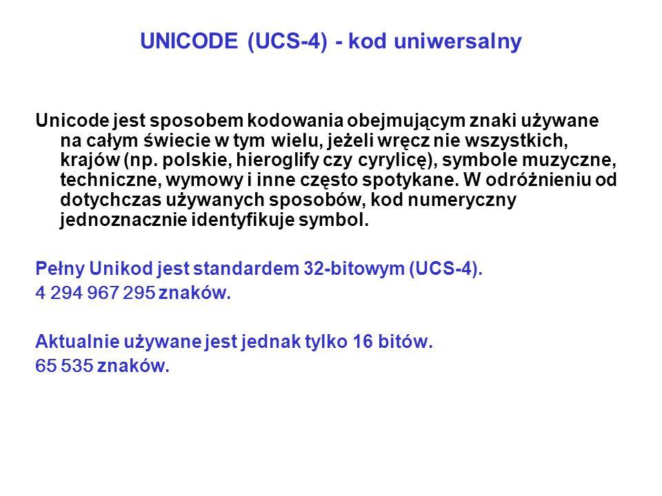 UNICODE (UCS-4) - kod uniwersalny