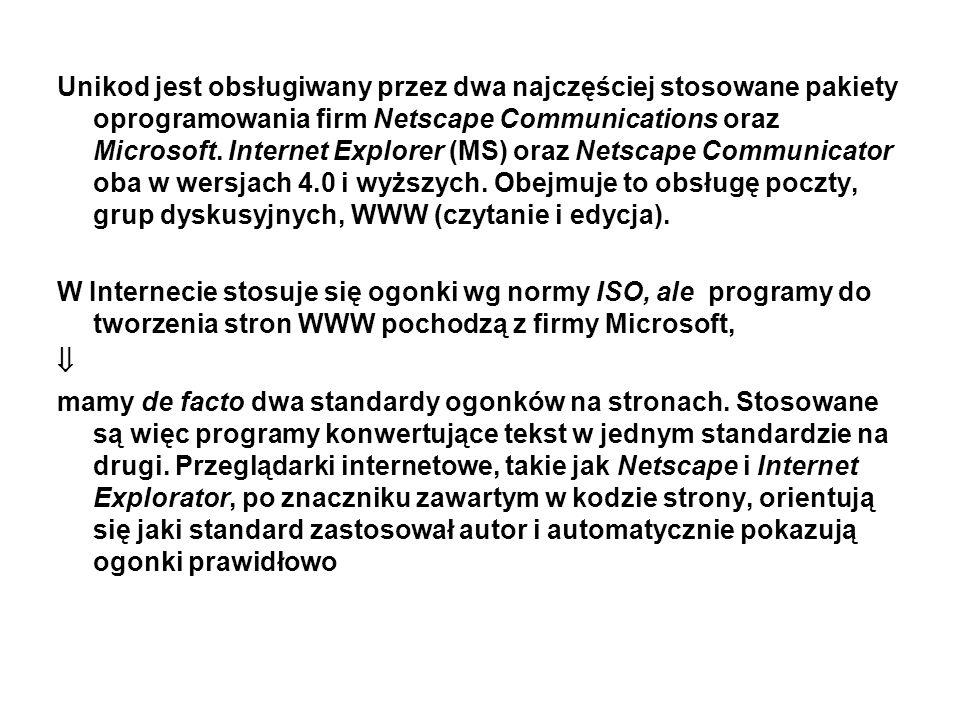 Unikod jest obsługiwany przez dwa najczęściej stosowane pakiety oprogramowania firm Netscape Communications oraz Microsoft. Internet Explorer (MS) oraz Netscape Communicator oba w wersjach 4.0 i wyższych. Obejmuje to obsługę poczty, grup dyskusyjnych, WWW (czytanie i edycja).