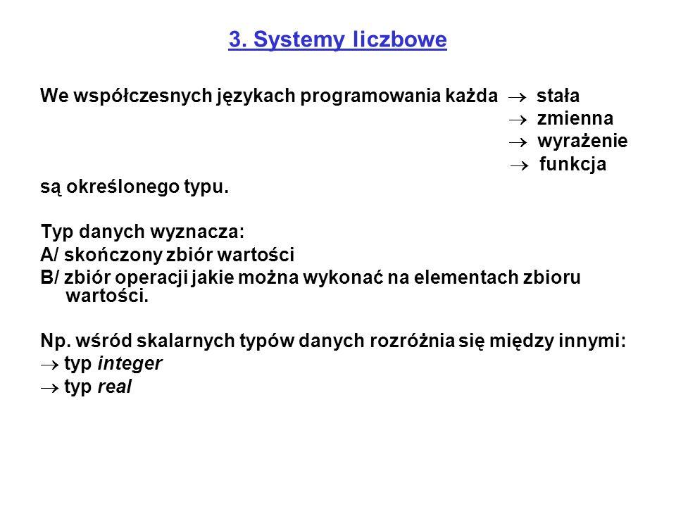 3. Systemy liczbowe We współczesnych językach programowania każda  stała.  zmienna.  wyrażenie.