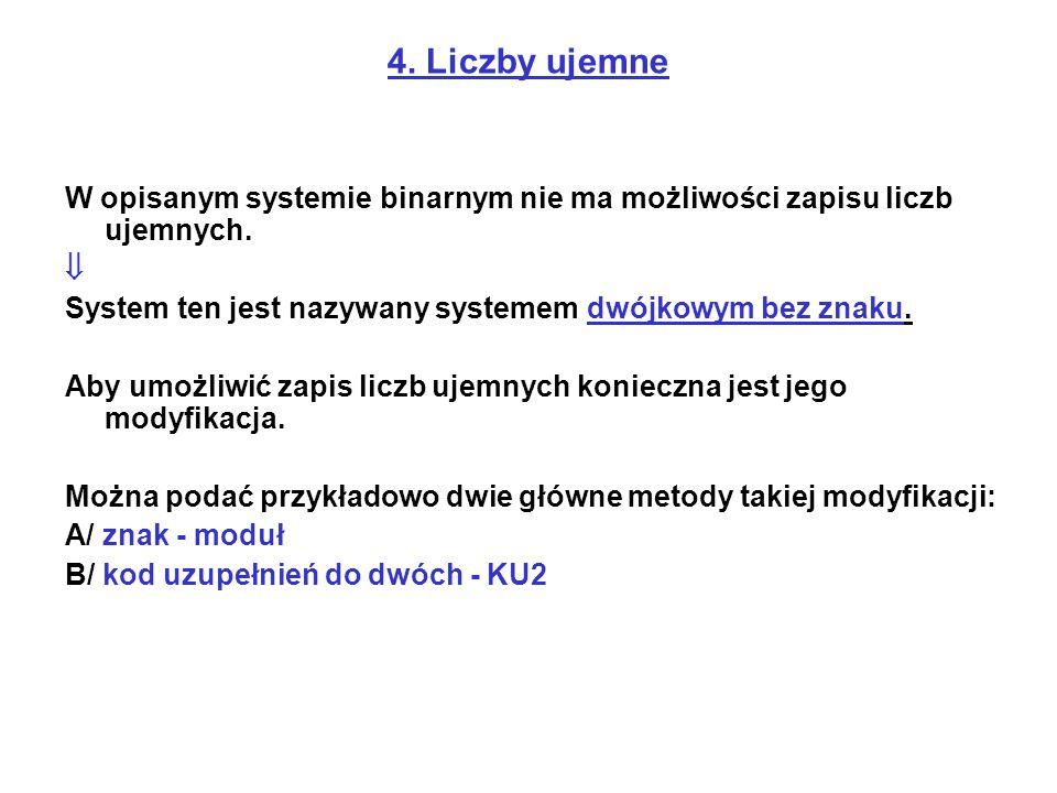 4. Liczby ujemne W opisanym systemie binarnym nie ma możliwości zapisu liczb ujemnych.  System ten jest nazywany systemem dwójkowym bez znaku.