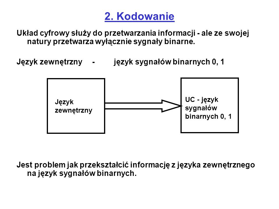 2. Kodowanie Układ cyfrowy służy do przetwarzania informacji - ale ze swojej natury przetwarza wyłącznie sygnały binarne.