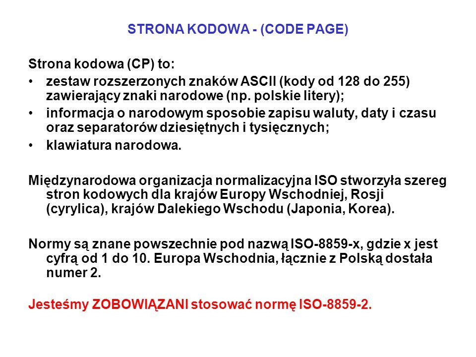 STRONA KODOWA - (CODE PAGE)