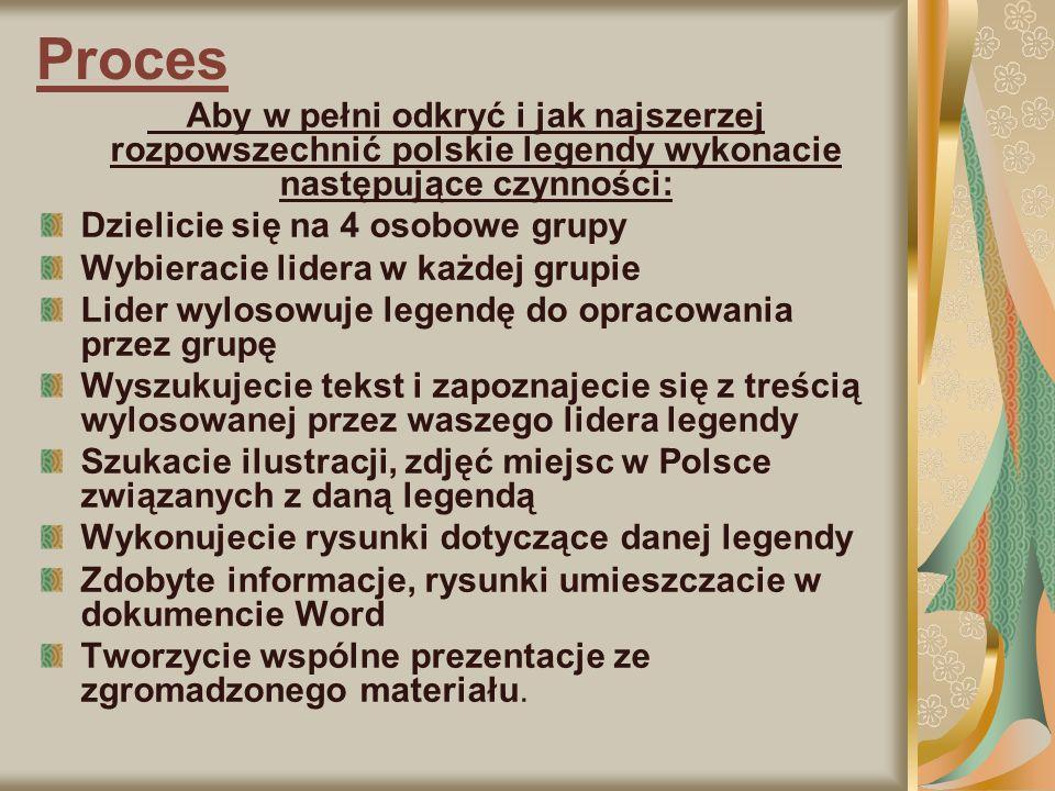 Proces Aby w pełni odkryć i jak najszerzej rozpowszechnić polskie legendy wykonacie następujące czynności: