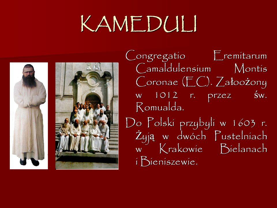 KAMEDULI Congregatio Eremitarum Camaldulensium Montis Coronae (EC). Załoożony w 1012 r. przez św. Romualda.