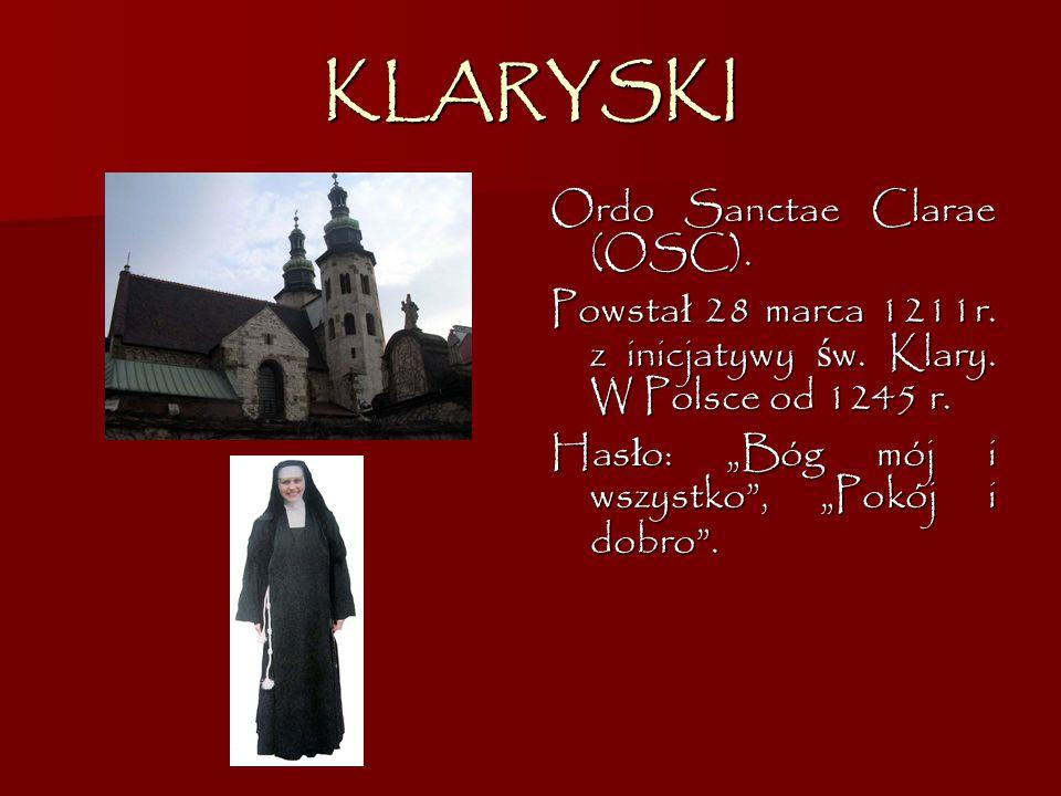 KLARYSKI Ordo Sanctae Clarae (OSC).