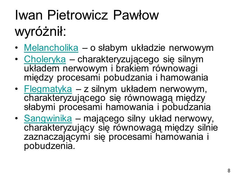 Iwan Pietrowicz Pawłow wyróżnił: