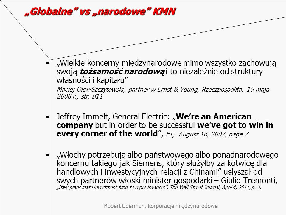 """Globalne vs ""narodowe KMN"