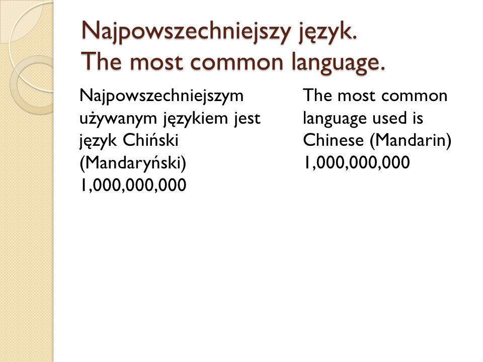 Najpowszechniejszy język. The most common language.