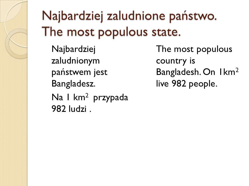 Najbardziej zaludnione państwo. The most populous state.
