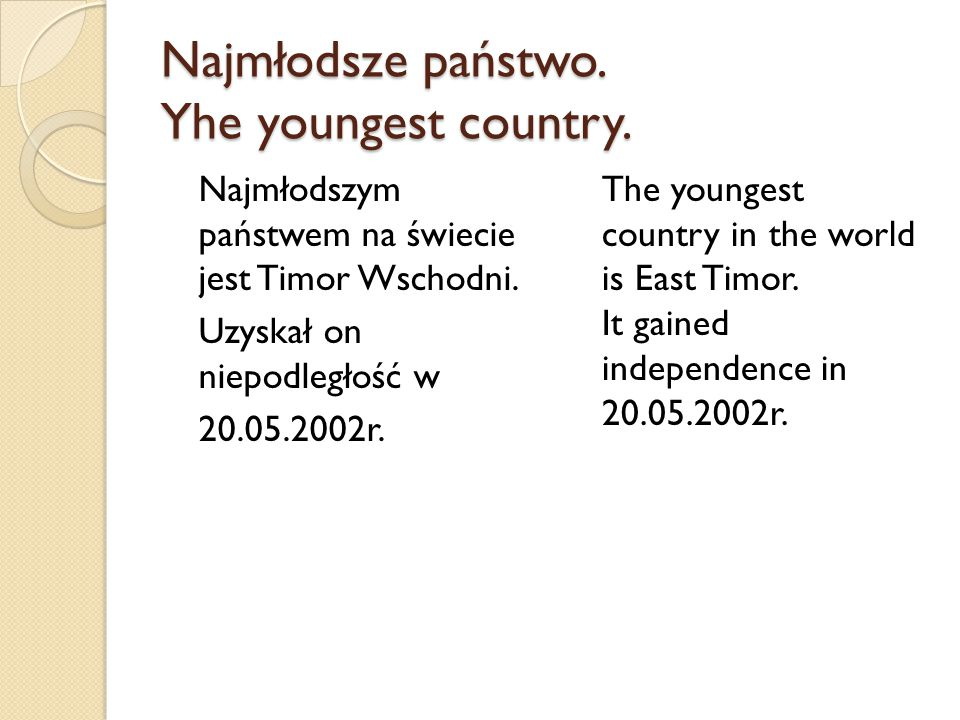 Najmłodsze państwo. Yhe youngest country.