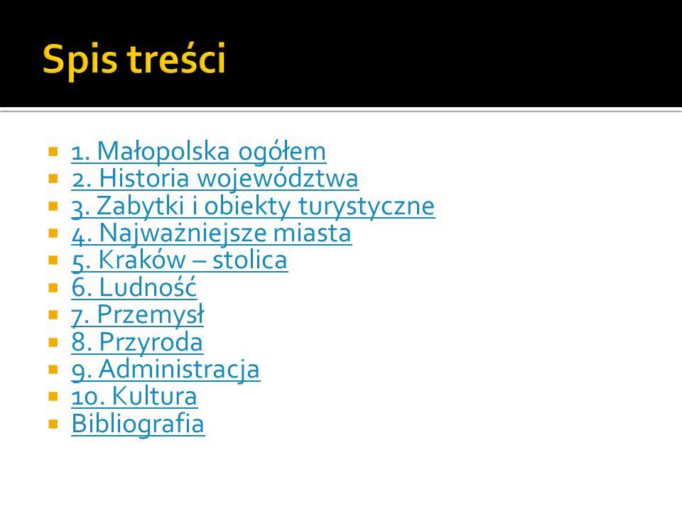 Spis treści 1. Małopolska ogółem 2. Historia województwa