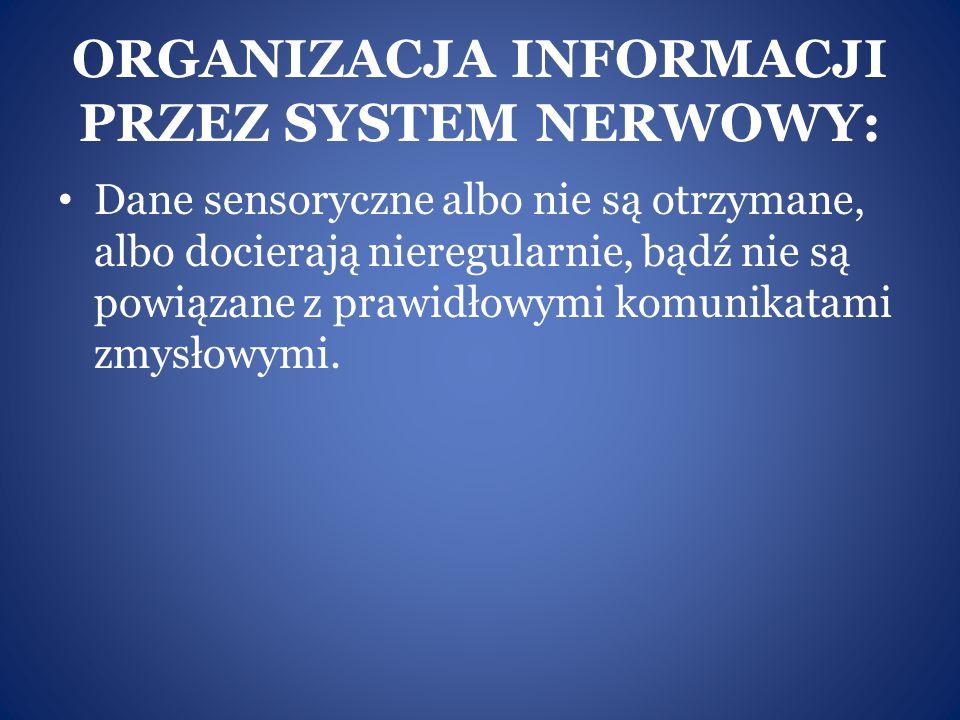ORGANIZACJA INFORMACJI PRZEZ SYSTEM NERWOWY: