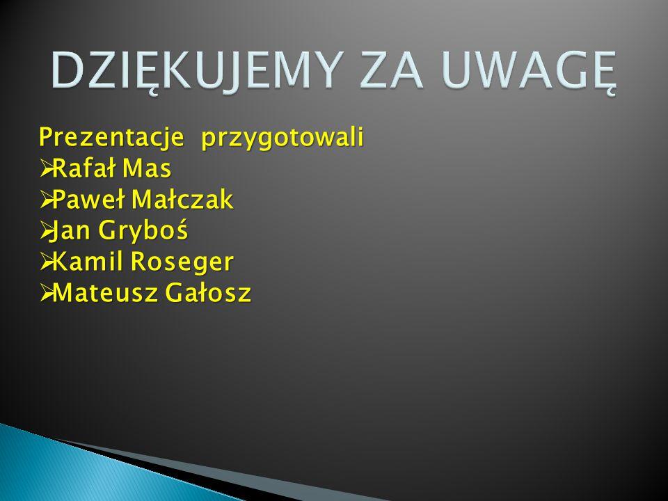 DZIĘKUJEMY ZA UWAGĘ Prezentacje przygotowali Rafał Mas Paweł Małczak
