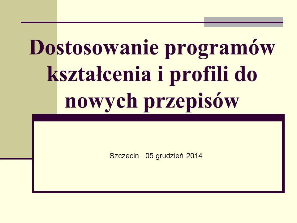 Dostosowanie programów kształcenia i profili do nowych przepisów