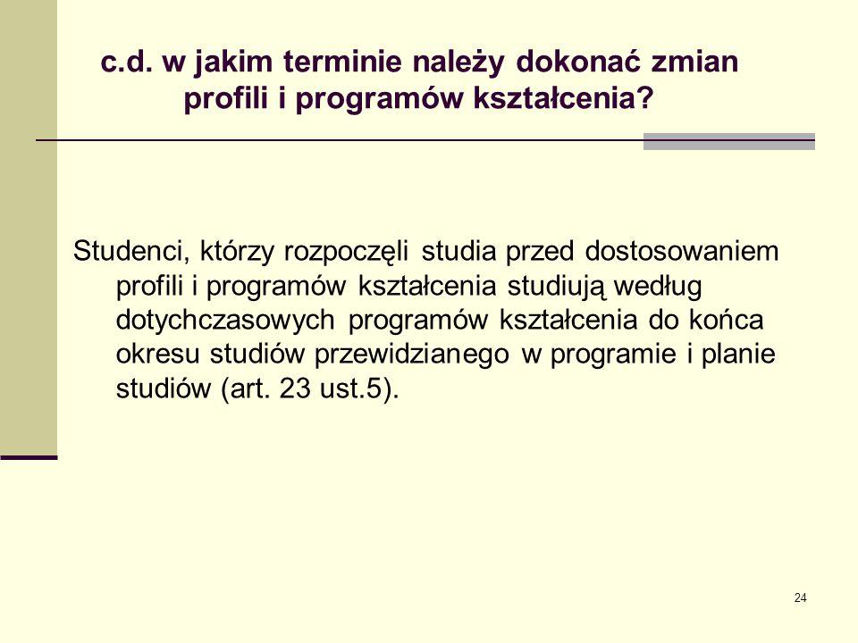 c.d. w jakim terminie należy dokonać zmian profili i programów kształcenia