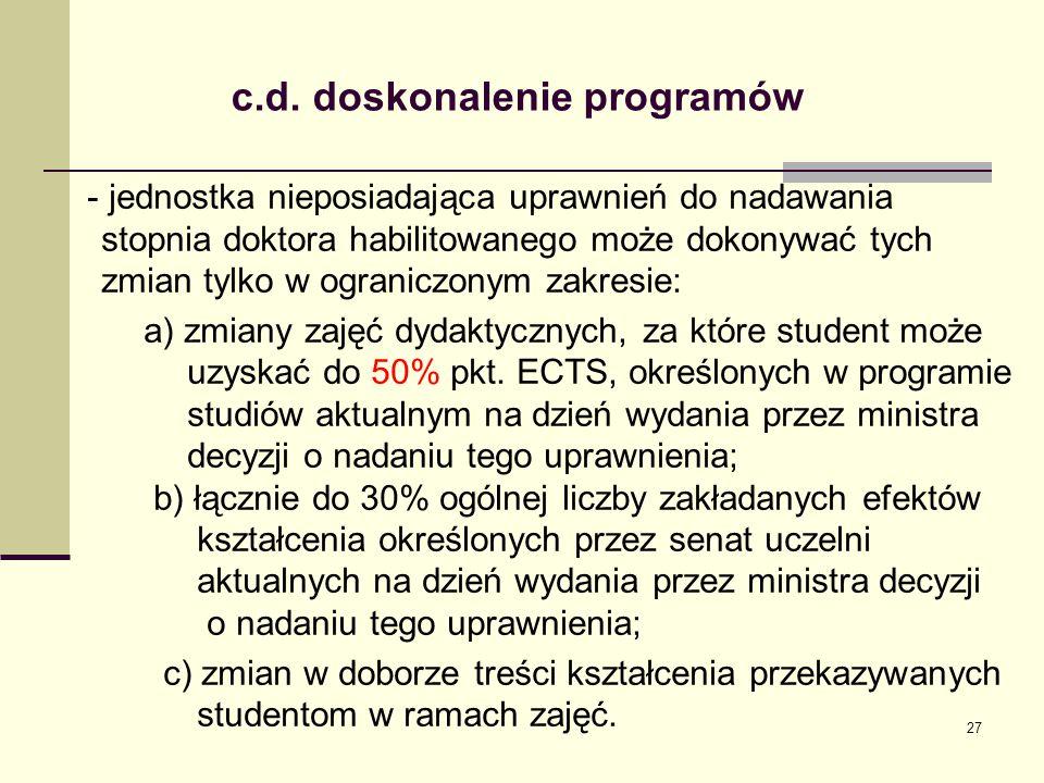 c.d. doskonalenie programów