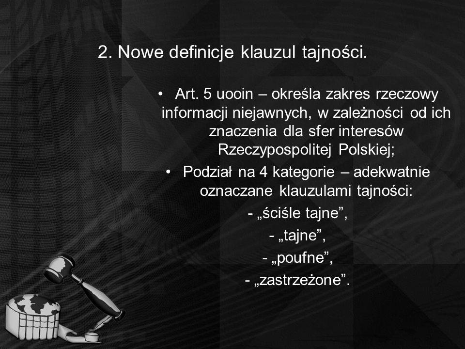 2. Nowe definicje klauzul tajności.