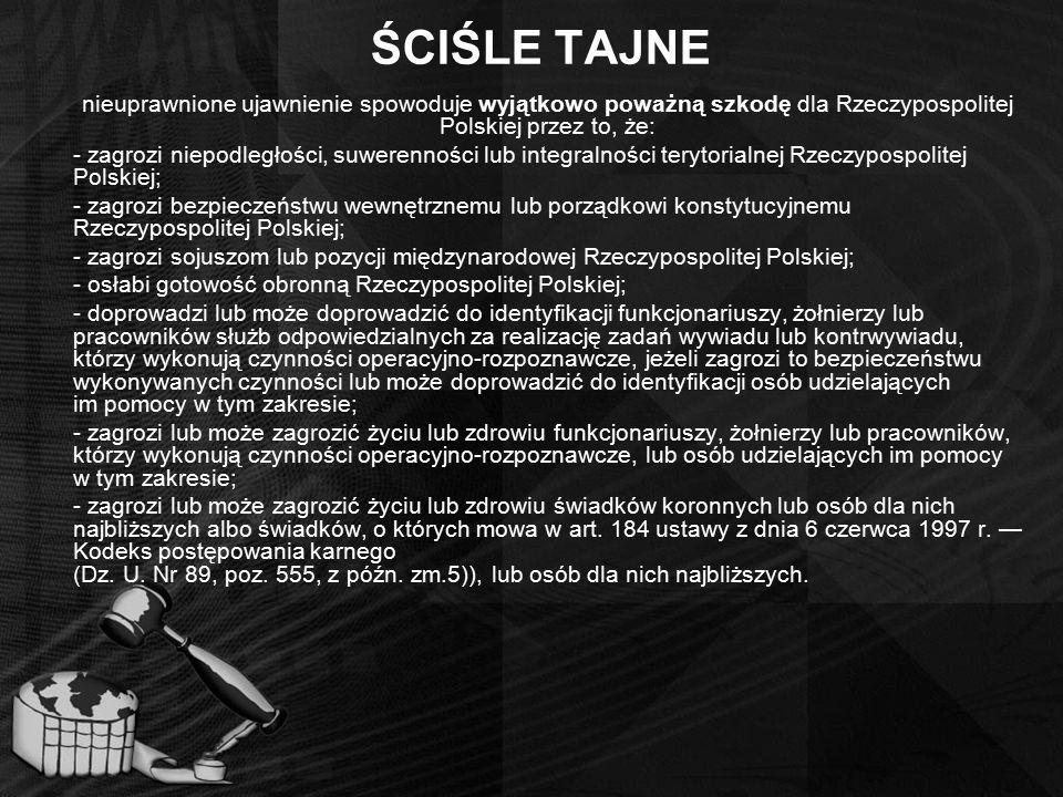 ŚCIŚLE TAJNE nieuprawnione ujawnienie spowoduje wyjątkowo poważną szkodę dla Rzeczypospolitej Polskiej przez to, że: