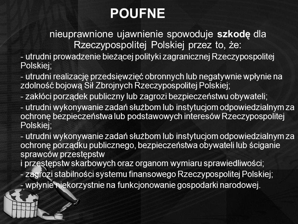 POUFNE nieuprawnione ujawnienie spowoduje szkodę dla Rzeczypospolitej Polskiej przez to, że: