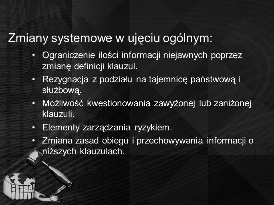 Zmiany systemowe w ujęciu ogólnym: