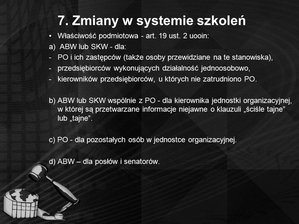 7. Zmiany w systemie szkoleń