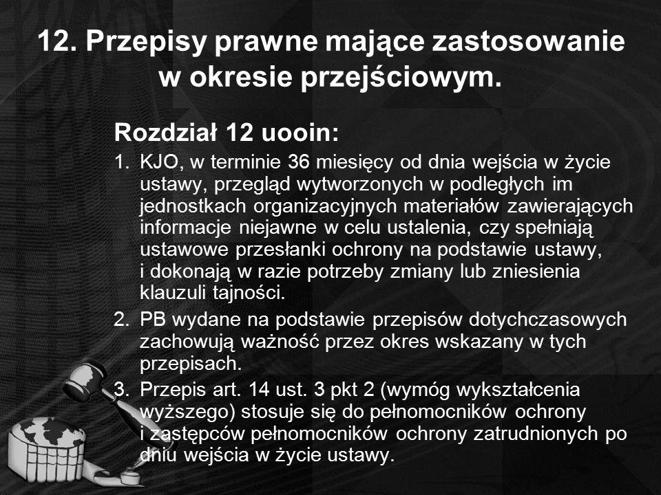 12. Przepisy prawne mające zastosowanie w okresie przejściowym.