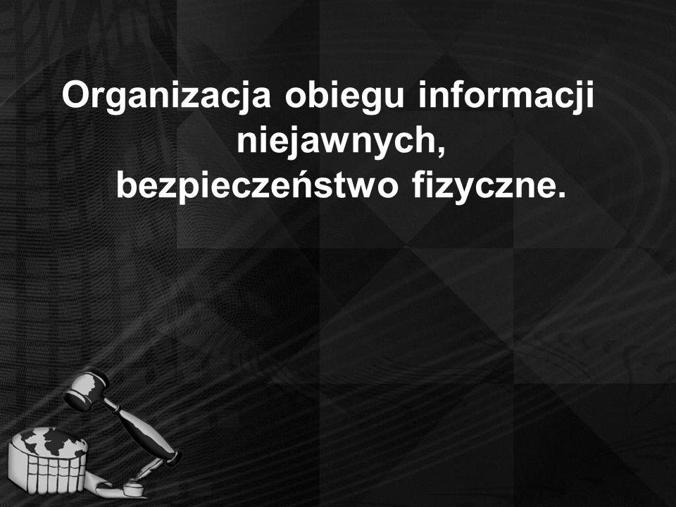Organizacja obiegu informacji niejawnych, bezpieczeństwo fizyczne.