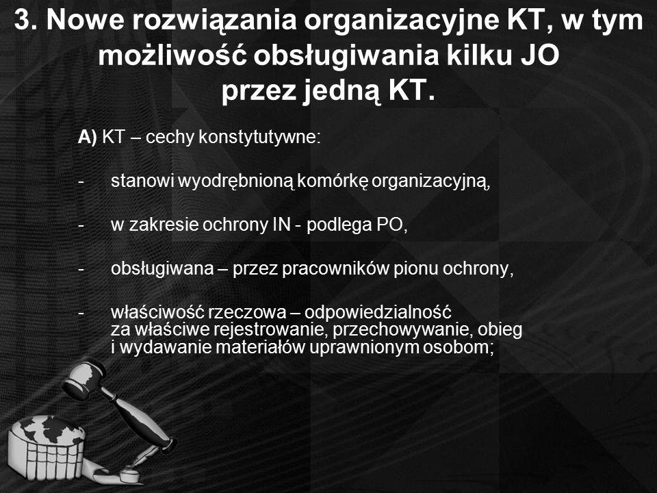 3. Nowe rozwiązania organizacyjne KT, w tym możliwość obsługiwania kilku JO przez jedną KT.